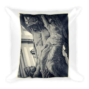 Statue Sacrifice of Polyxena and Flowers 1 Square Pillow - Spgetti