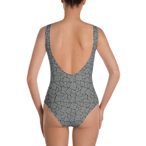 Squares Pattern One-Piece Swimsuit