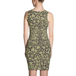 Multiple flower Pattern on Black Dress - Spgetti
