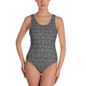 Circle Pattern One-Piece Swimsuit - Spgetti