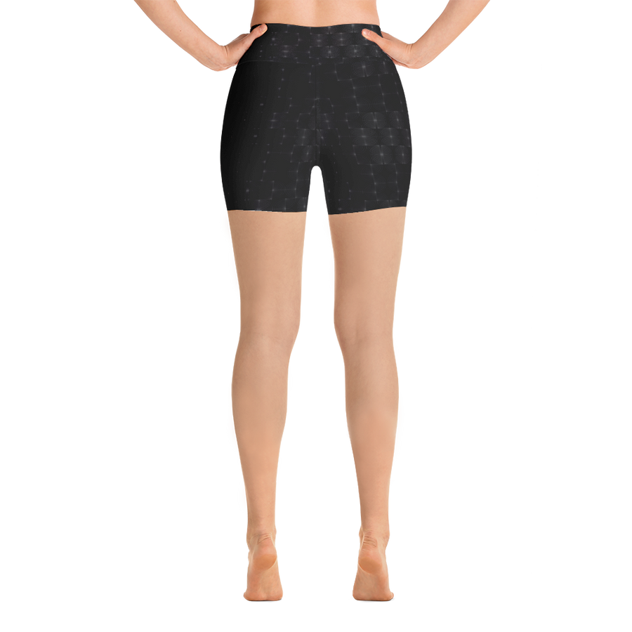 Recurved Circle Pattern Black Yoga Shorts
