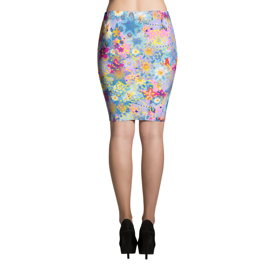 Beautiful Floral Design Pink Pencil Skirt - Spgetti