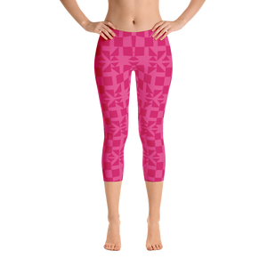 Pink Square and Triangle Pattern Capri Leggings