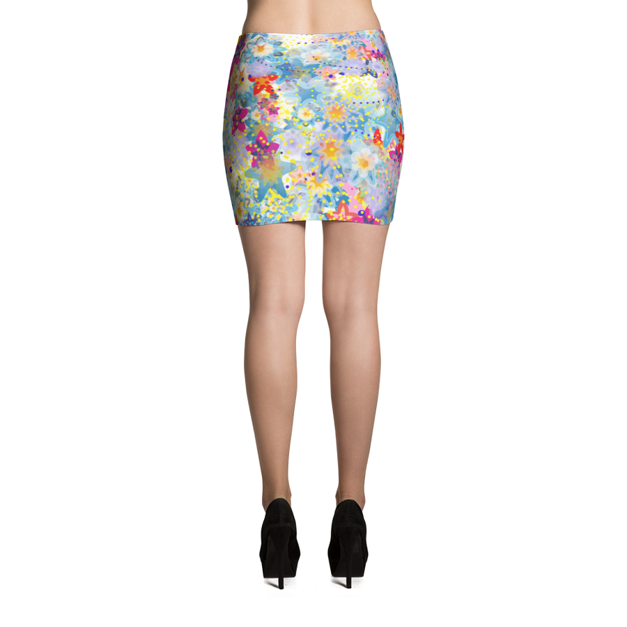 Beautiful Floral Mini Skirt - Spgetti