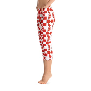 Red Square and Triangle Pattern Capri Leggings