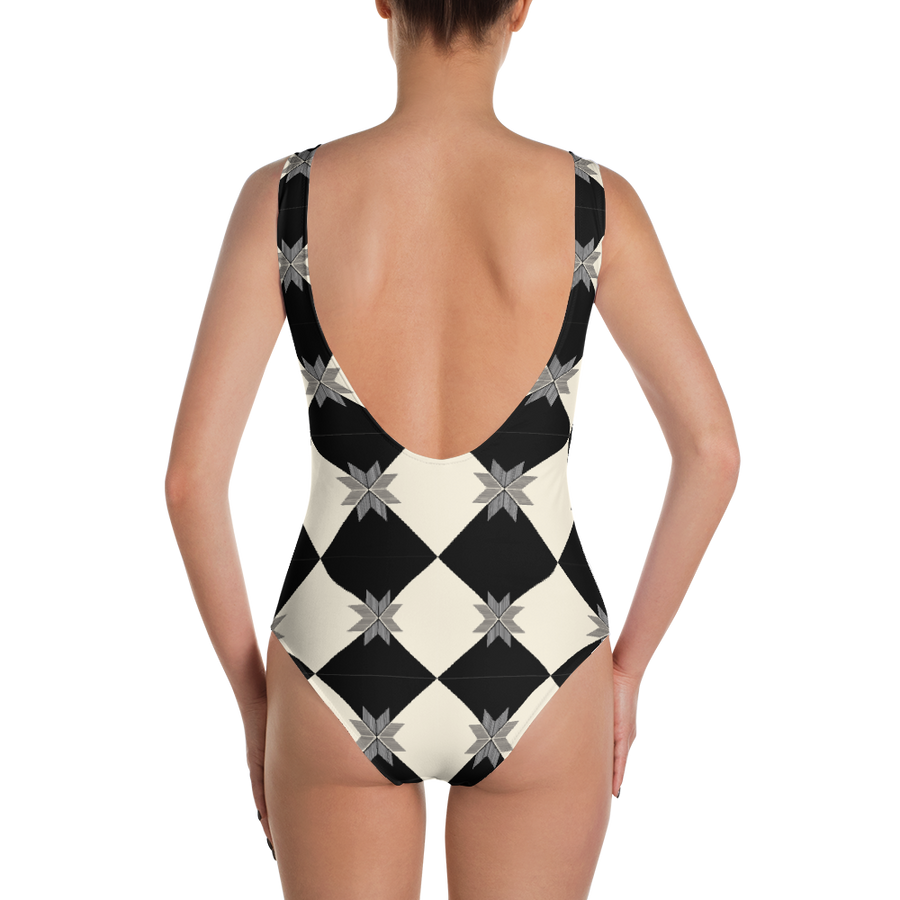 Checkered One-Piece Swimsuit - Spgetti