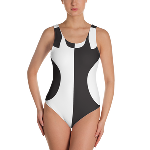 Black and White Circle Design One-Piece Swimsuit - Spgetti