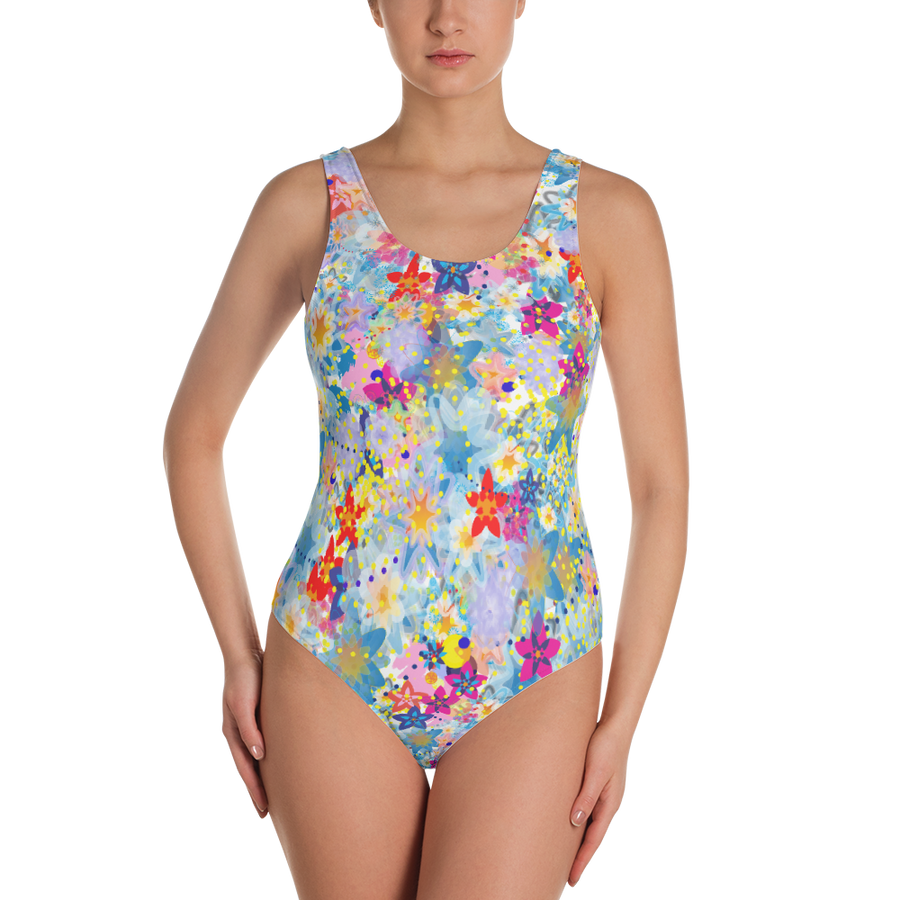 Beautiful Floral One-Piece Swimsuit - Spgetti
