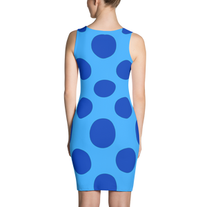 Blue Dots Blue Background Dress - Spgetti