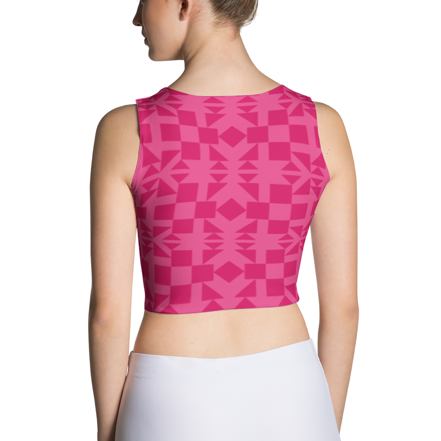 Pink Square and Triangle Pattern Crop Top