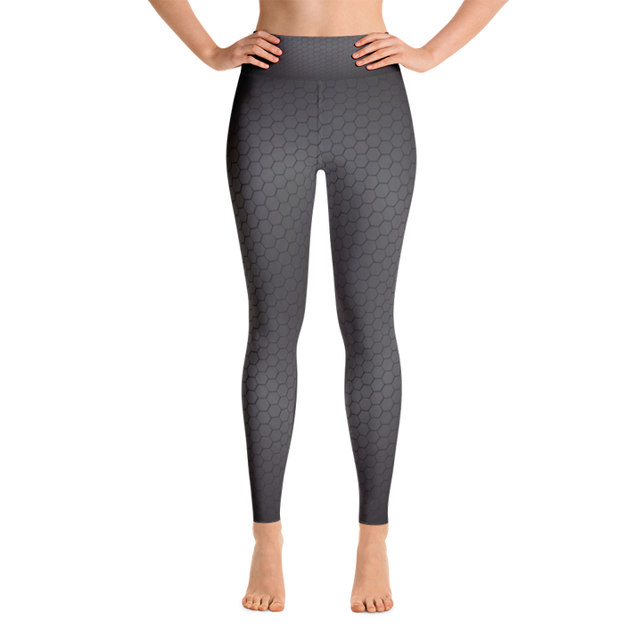 Dark Hex Pattern Yoga Leggings - Spgetti