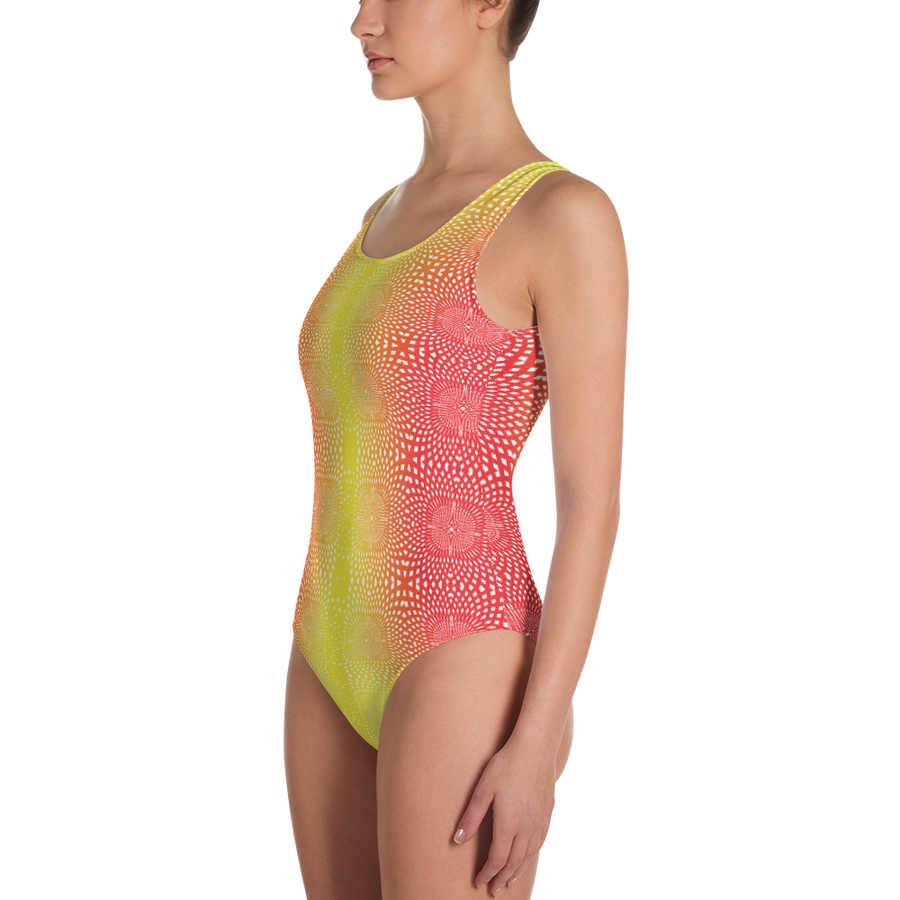 Red and Yellow Pattern One-Piece Swimsuit - Spgetti