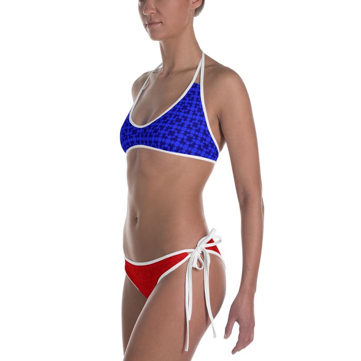 Red and Blue Pattern Bikini - Spgetti