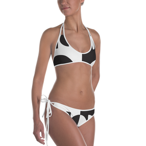 Black and White Circle Design Bikini - Spgetti