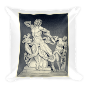 Laocoön and His Sons and Tulips Square Pillow - Spgetti