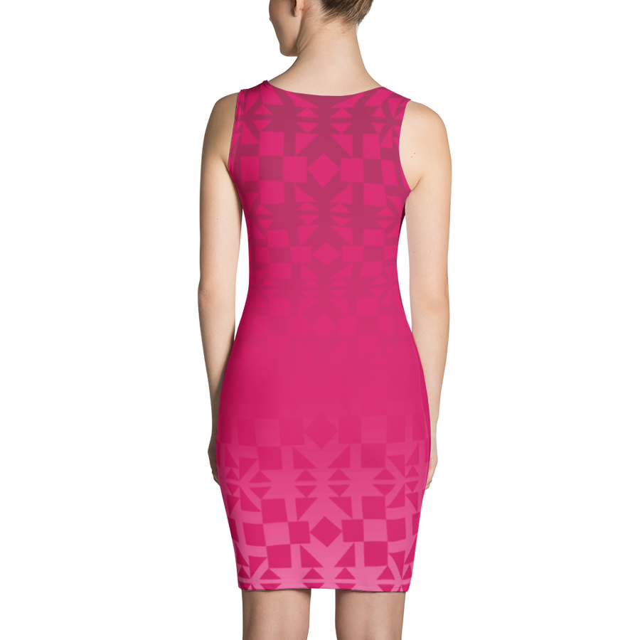 Pink Square and Triangle Pattern Dress