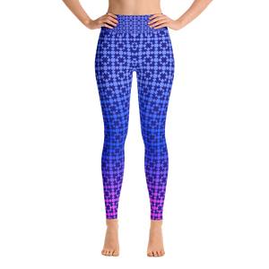 Gradated Blue Pattern Yoga Leggings - Spgetti