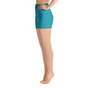 Blue Zigzag Yoga Shorts - Spgetti