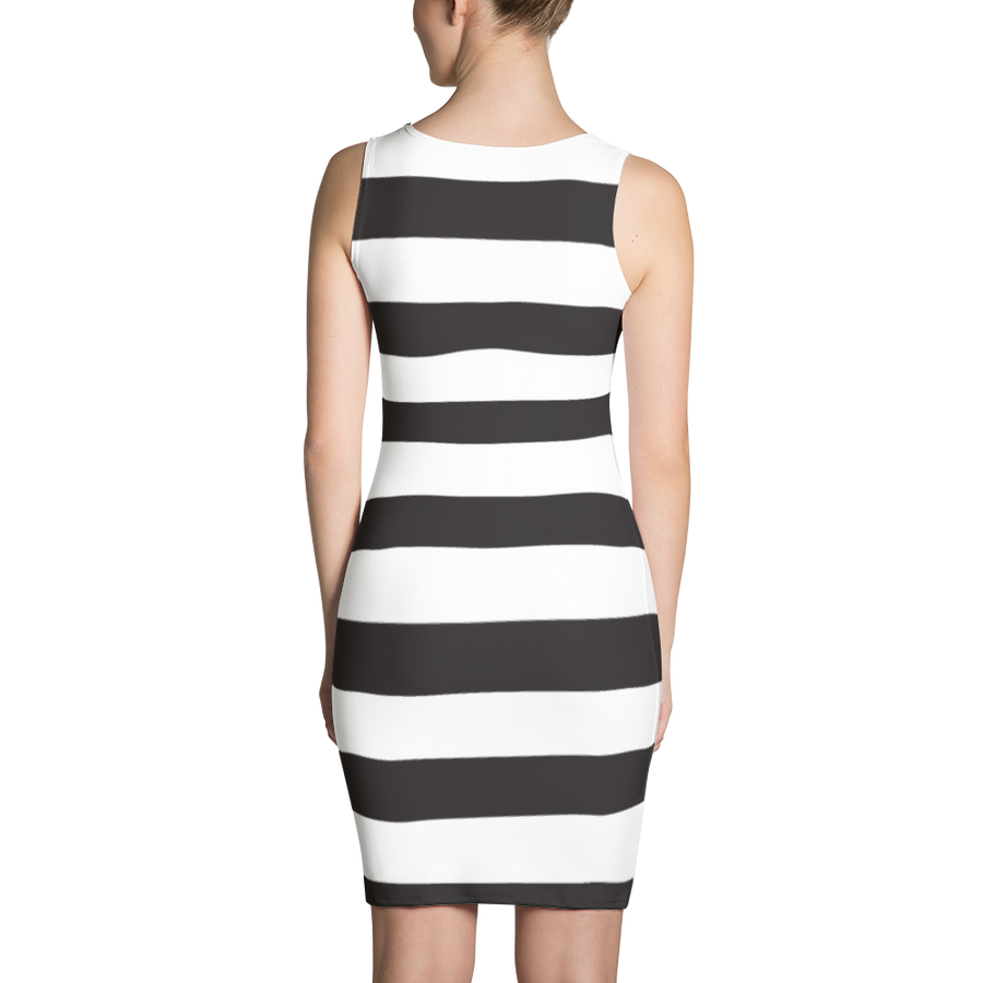 Black Horizontal Striped Sublimation Cut & Sew Dress - Spgetti