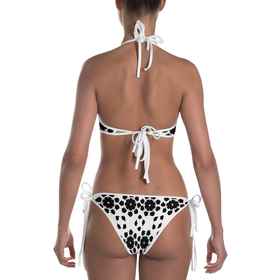 Blue and Black and White Pattern Bikini - Spgetti