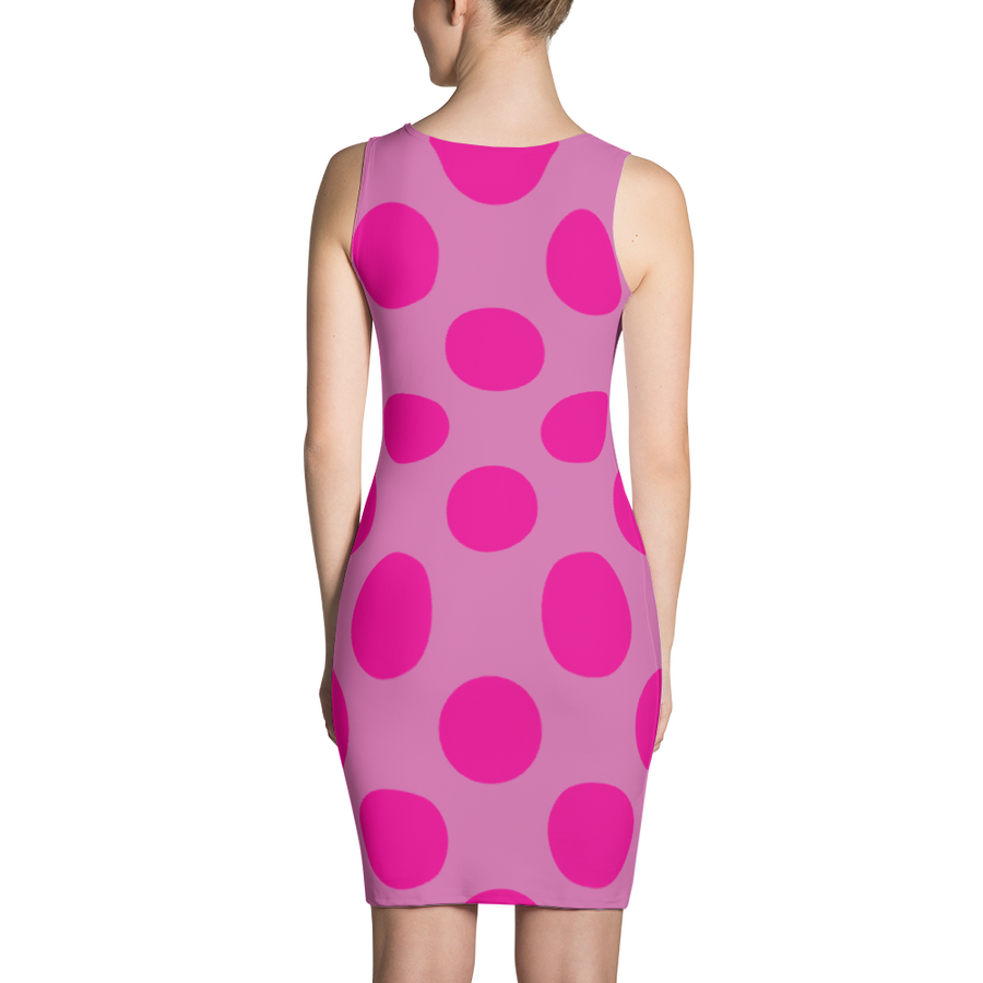 Pink Dots Pink Background Dress - Spgetti