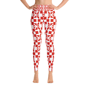 Red Square and Triangle Pattern Yoga Leggings