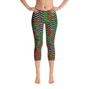 Roses on Zigzag Capri Leggings