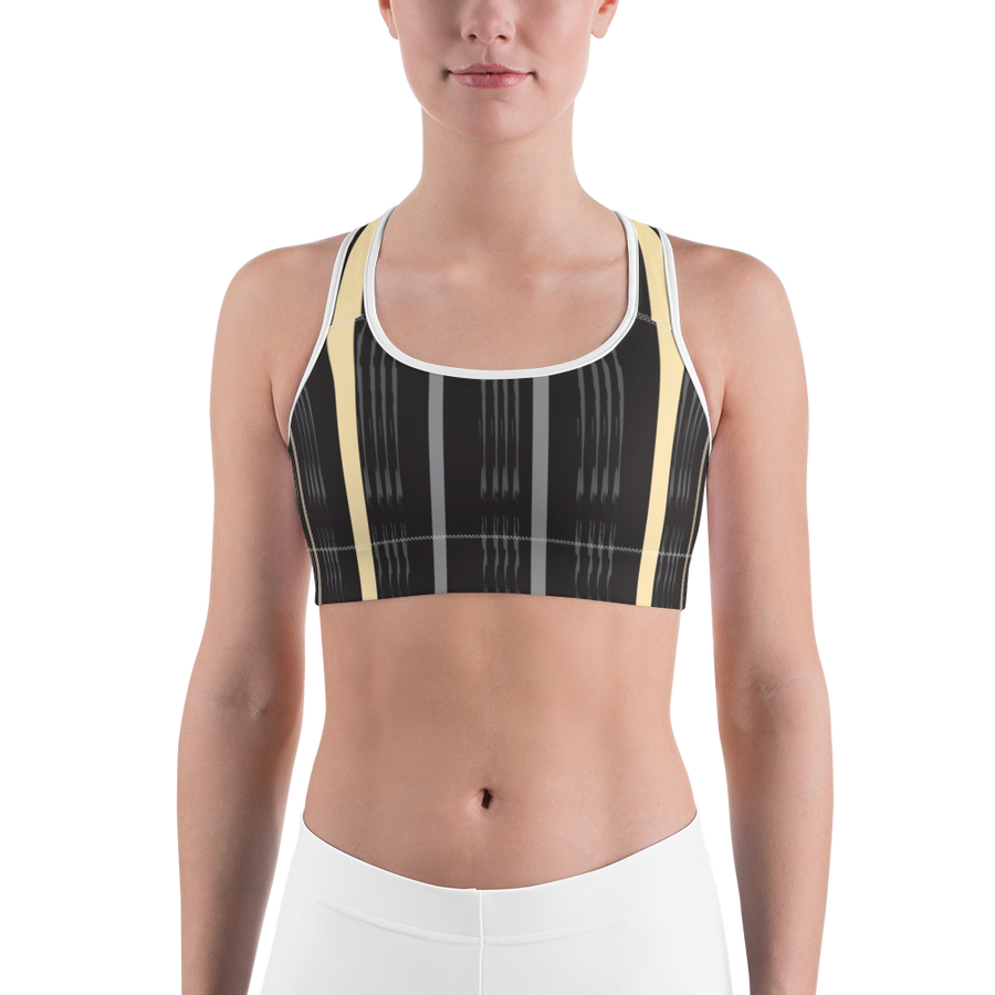 Stripes on Black Sports bra