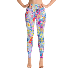 Beautiful Floral Design Pink Yoga Leggings - Spgetti