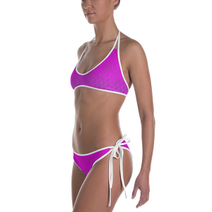 Recurved Circle Pattern Black and Pink Bikini