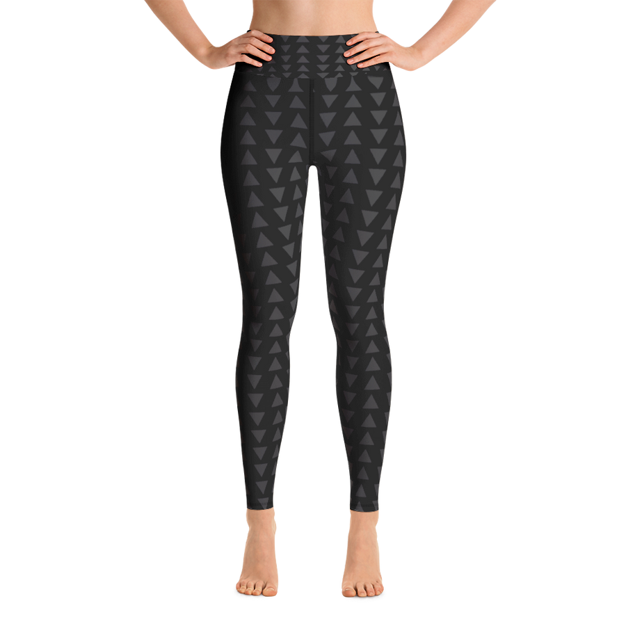 Gray Triangles On Black Yoga Leggings - Spgetti