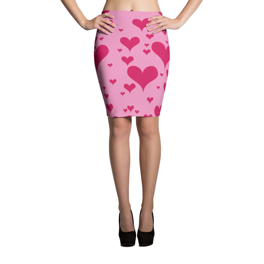 Pink Hearts Pencil Skirt