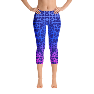 Gradated Blue Pattern Capri Leggings - Spgetti