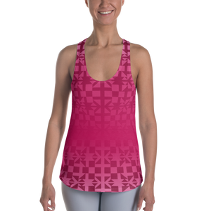 Pink Square and Triangle Pattern Women's Racerback Tank