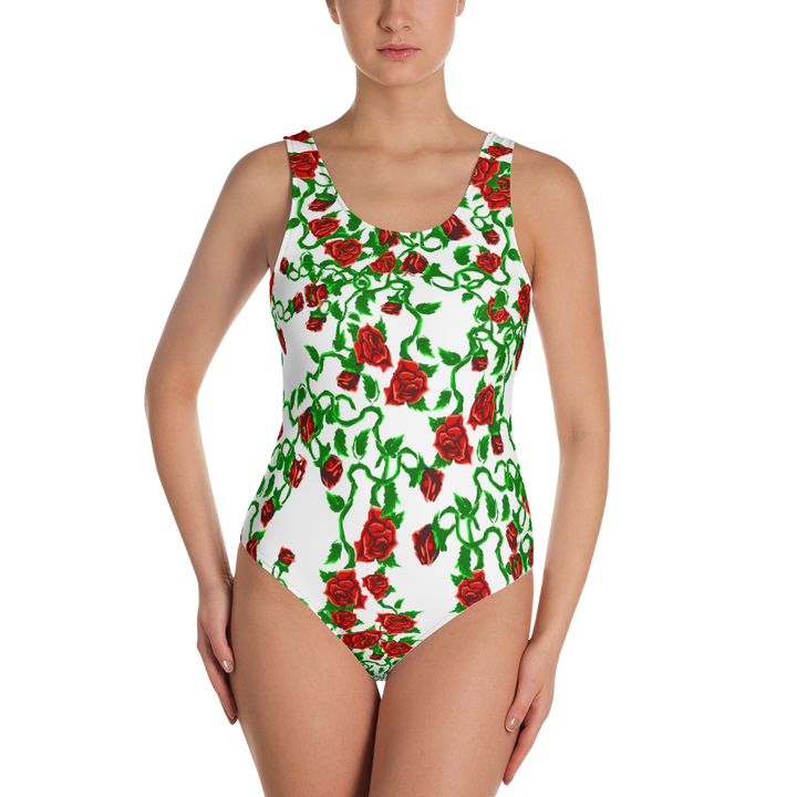 Roses on White One-Piece Swimsuit