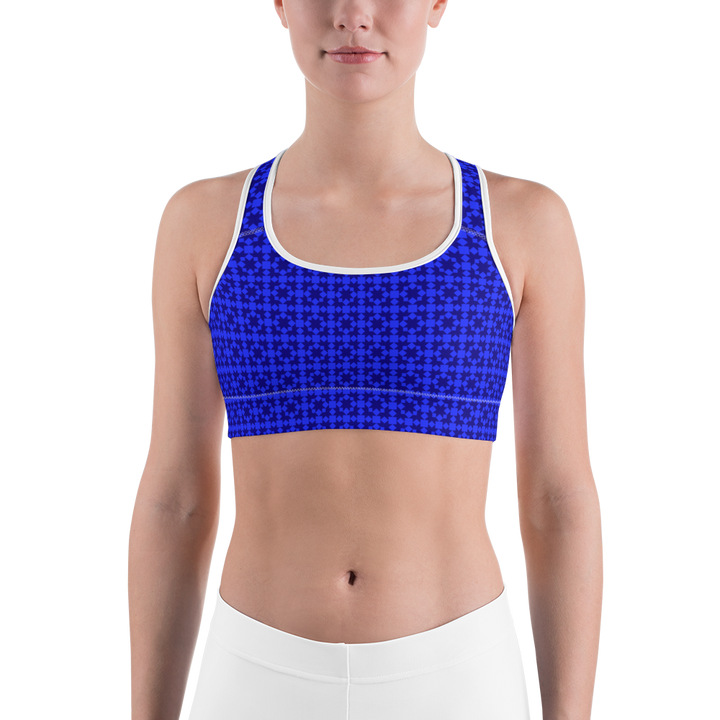 Blue Pattern Sports bra - Spgetti