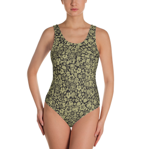 Multiple flower Pattern on Black One-Piece Swimsuit