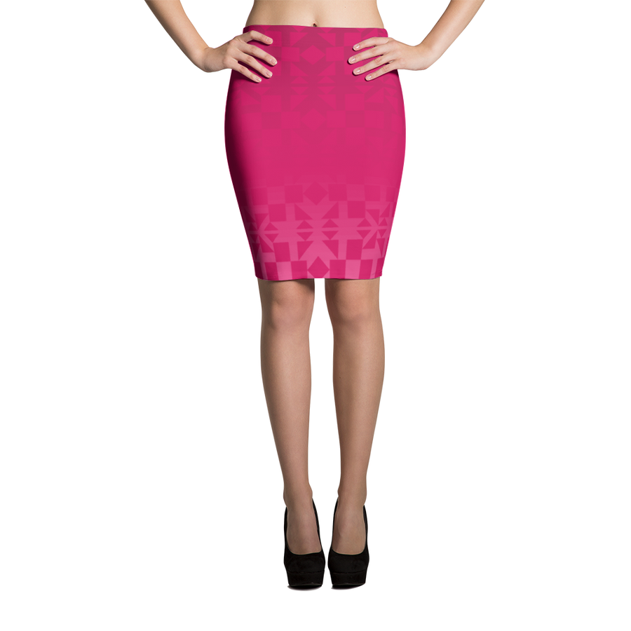 Pink Square and Triangle Pattern Pencil Skirt
