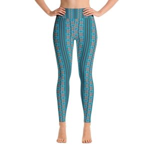 Turquoise Pattern Yoga Leggings