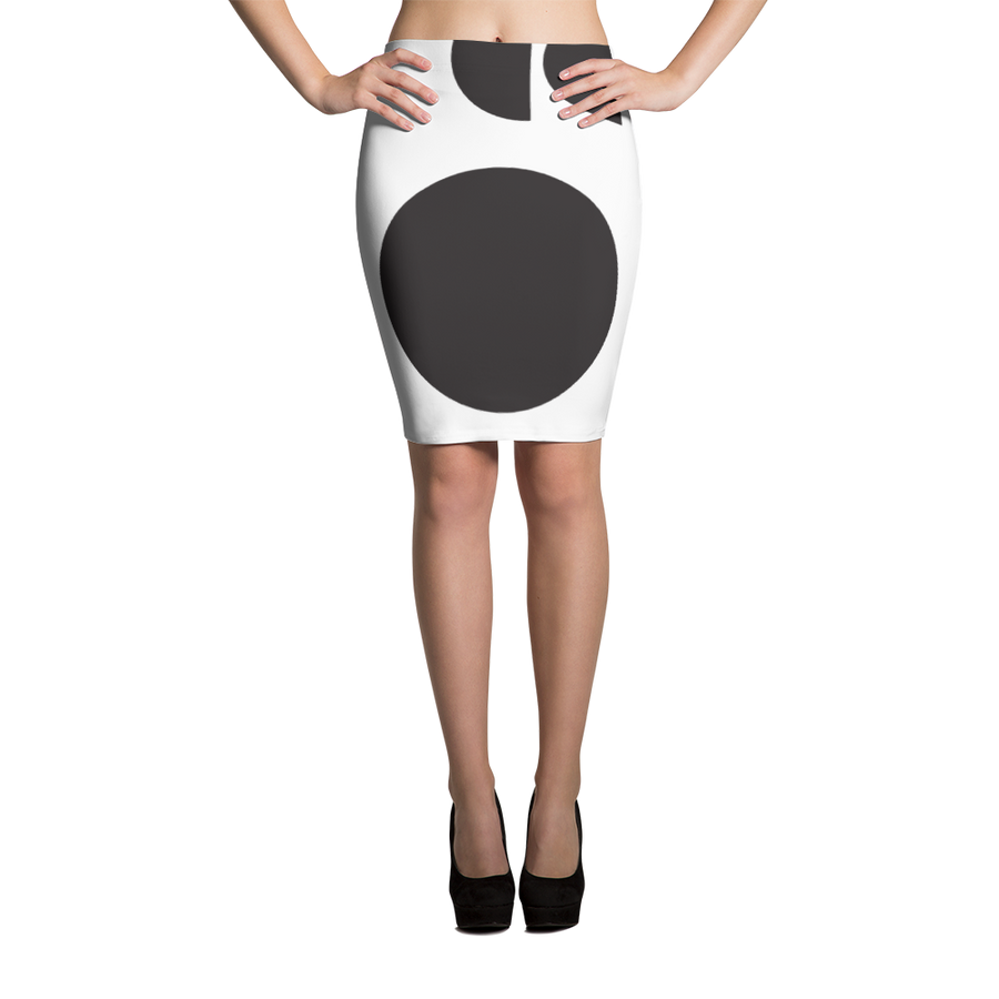 Black and White Circle Design Pencil Skirt - Spgetti