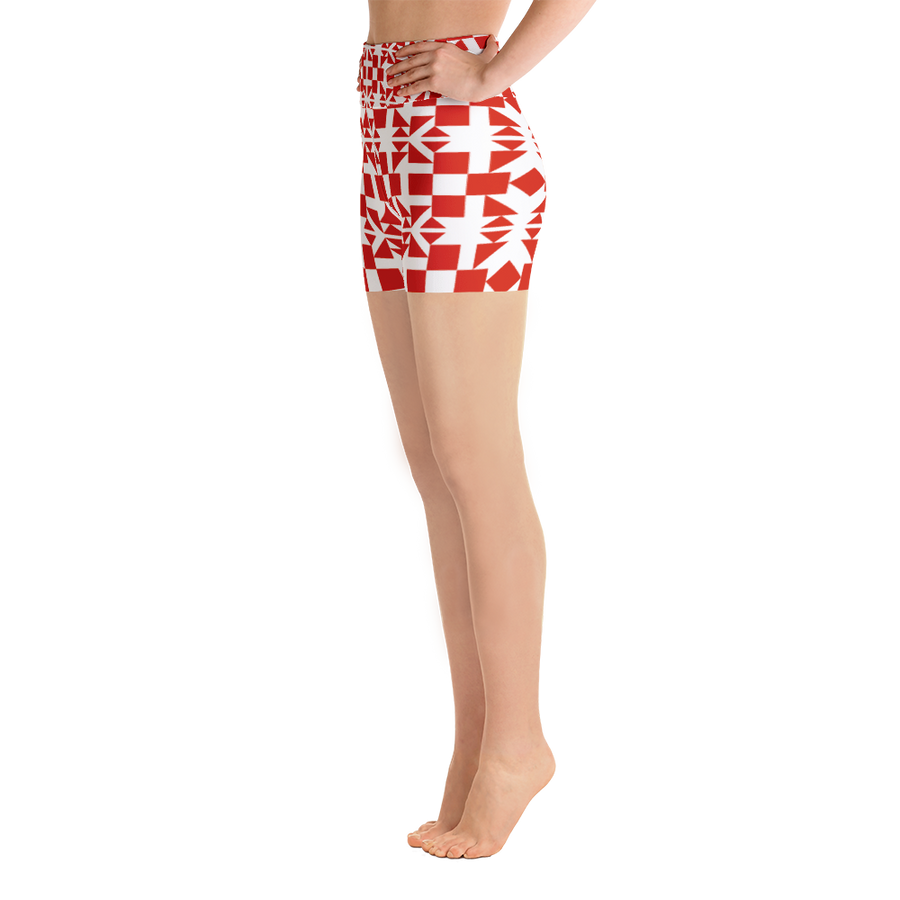 Red Square and Triangle Pattern Yoga Shorts