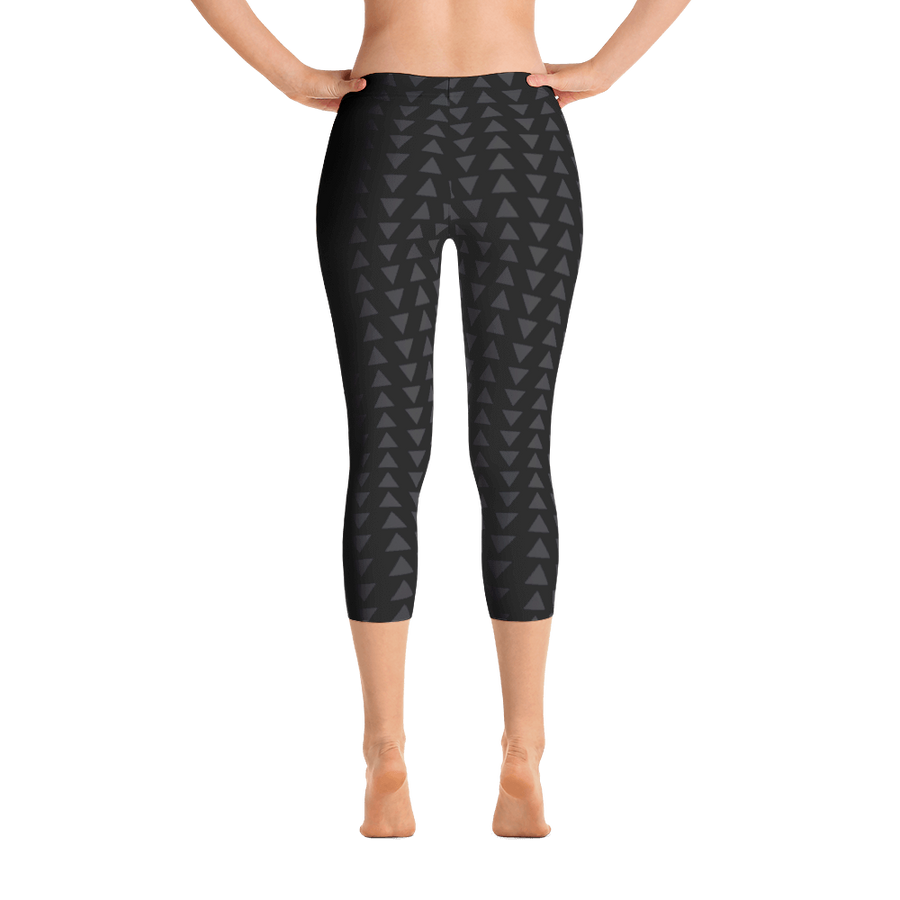 Gray Triangle on Black Capri Leggings - Spgetti