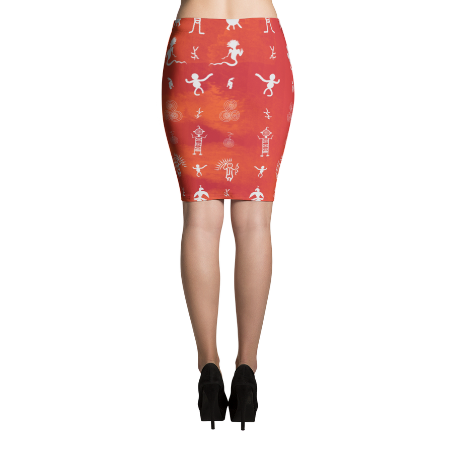 Petroglyph Pattern Pencil Skirt - Spgetti
