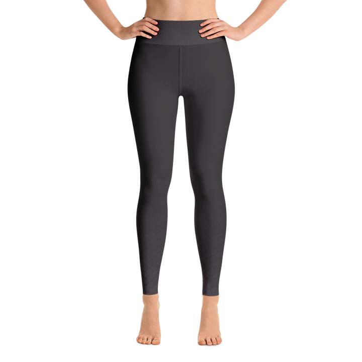 Black With Faint Dark Hex Pattern Yoga Leggings - Spgetti