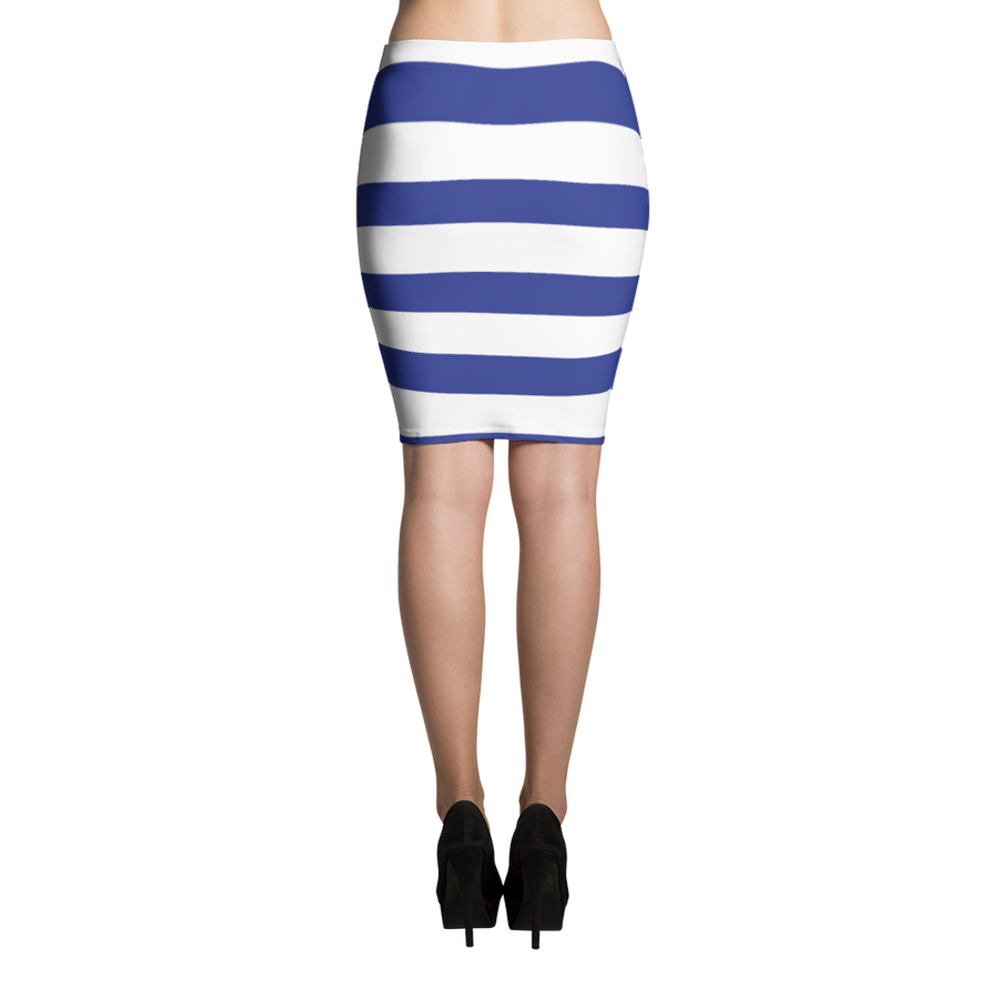 Blue Stripe Pencil Skirt - Spgetti