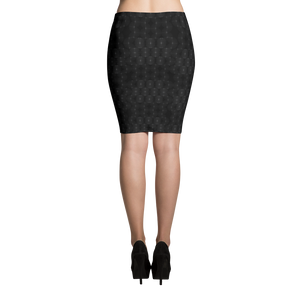 Recurved Circle Pattern Black Pencil Skirt