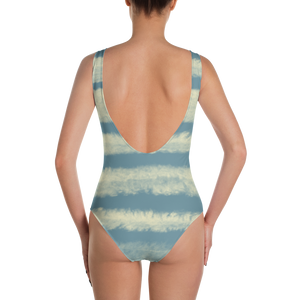 Blue Contrails One-Piece Swimsuit - Spgetti