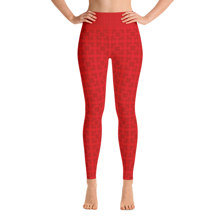 Red Pattern Yoga Leggings - Spgetti
