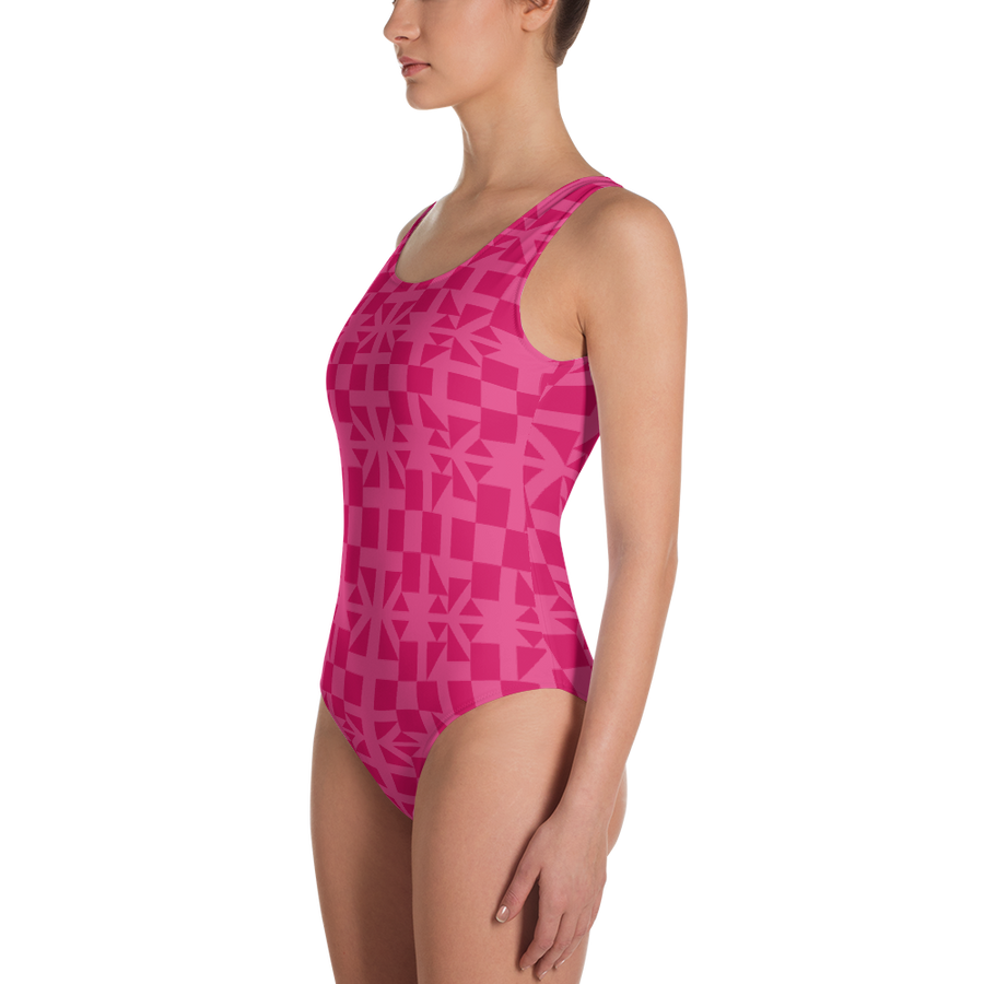 Pink Square and Triangle Pattern One-Piece Swimsuit