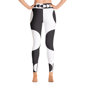 Black and White Circle Design Yoga Leggings - Spgetti